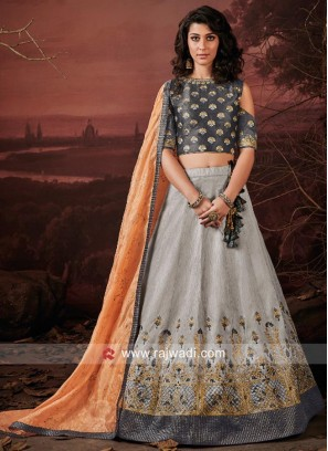 Designer Art Raw Silk Lehenga