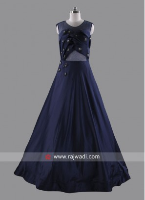 Designer Art Silk and Net Sleeveless Gown