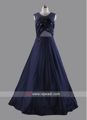 Designer Art Silk and Net Sleeveless Gown
