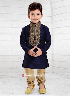 Designer Art Silk Wedding Kurta Pajama for Kids
