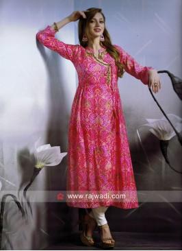 Dressline Designer Bandhani Kurti in Pink
