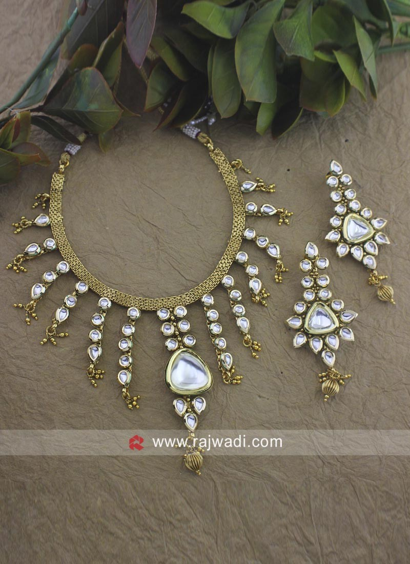 Designer Beads Golden Necklace Set