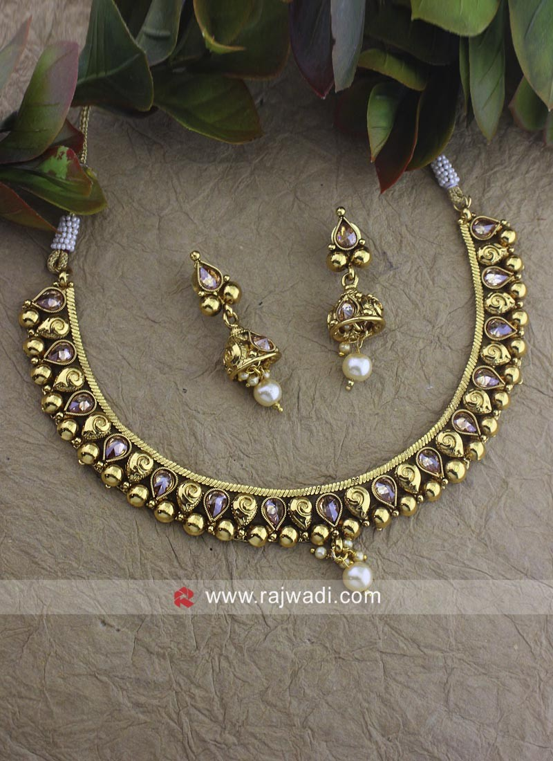 Designer Beads Necklace Set with Earrings