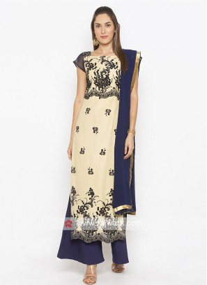 Designer Beige And Navy Blue Colour Palazzo Suit