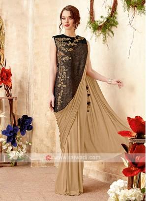 designer beige color saree