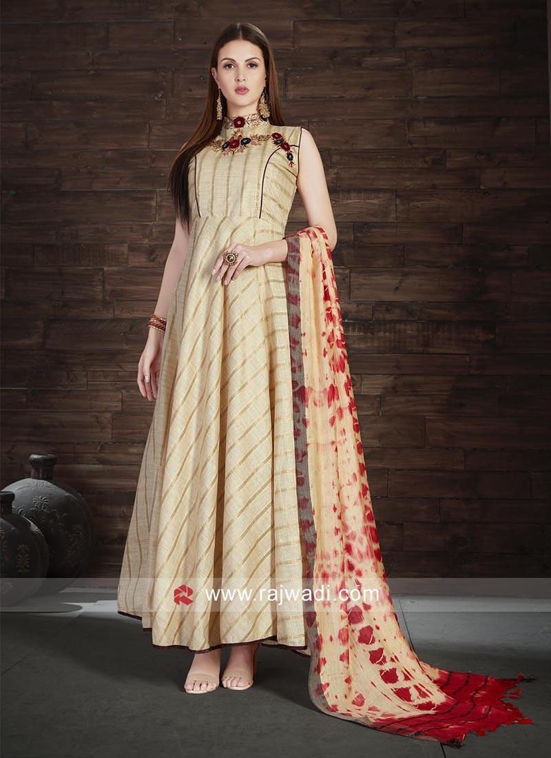 Designer Beige Stitched Anarkali Suit