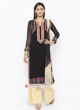 Designer Black And Beige Colour Palazzo Suit