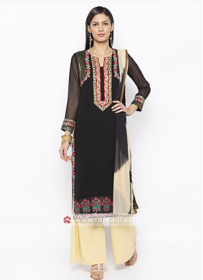 Designer Black And Beige Colour Palazzo Suit