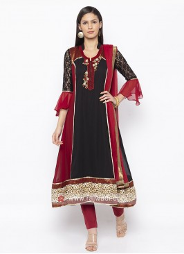 Designer Black And Maroon Salwar Suit
