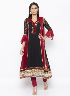 Designer Black And Maroon Salwar Suit