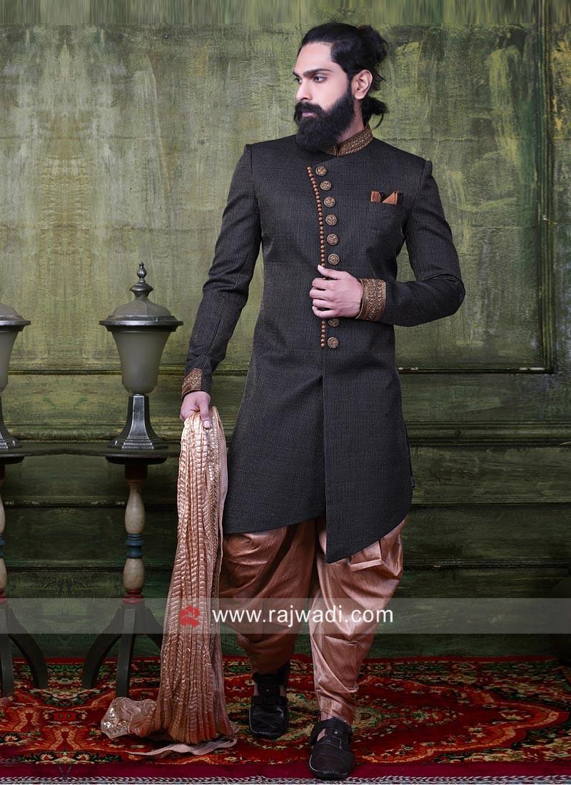 Designer Black Brocade Silk Indo Western