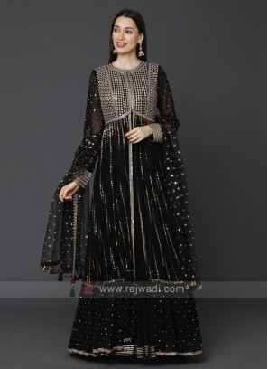 Designer Black Color Gown With Shrug