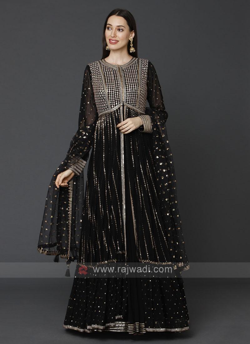 Designer Black Color Gown With Shrug