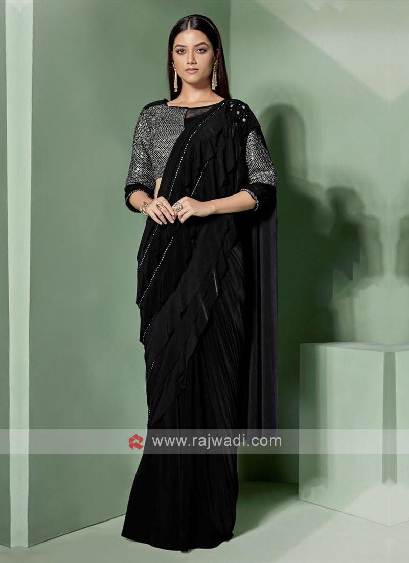 Designer black colour saree