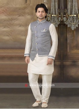 Stylish Brocade Silk Nehru Jacket