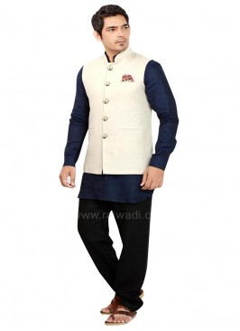 Designer Blue and Beige Nehru Jacket