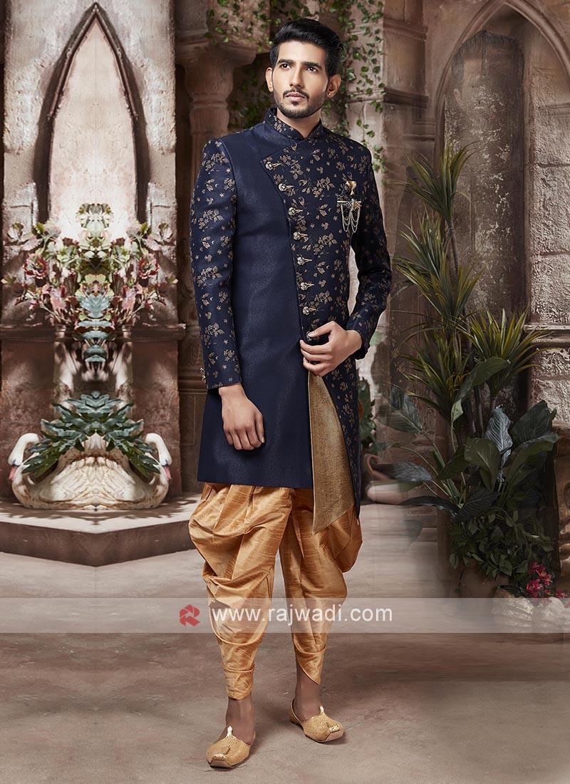 Designer Navy Blue And Golden Colour Indo-western