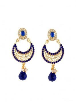 Designer Blue and Golden Dangler Earring