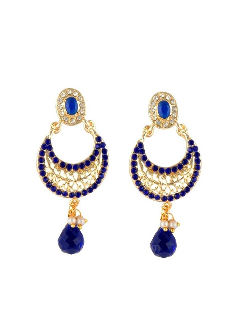 Designer Blue and Golden Dangler Earring