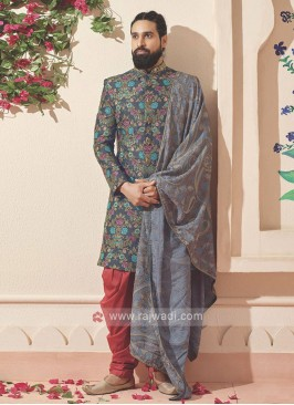 Designer Dark Grey And Red Indo-western