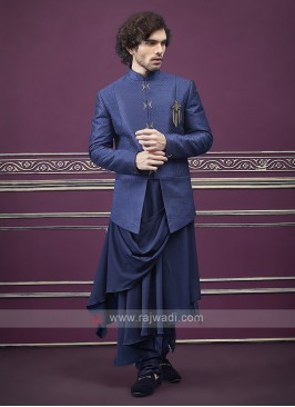 Designer Blue color indo western for men