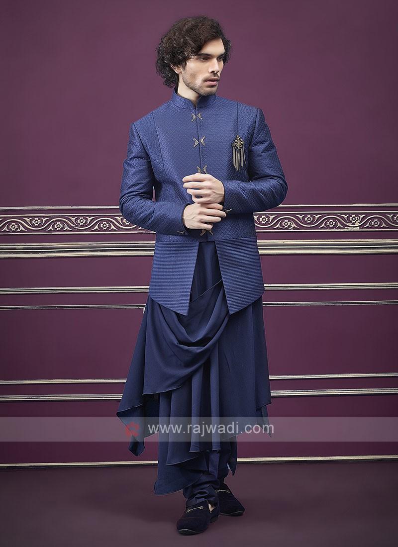 Designer Blue color indo western for men