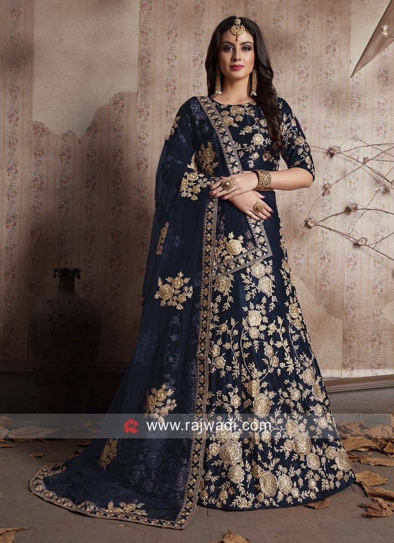 Designer Blue Flower Work Lehenga
