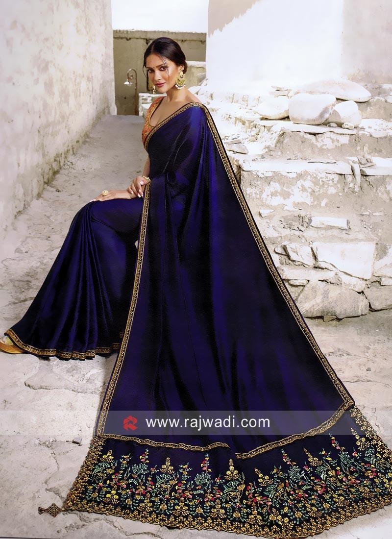 Designer Border Work Saree in Dark Blue