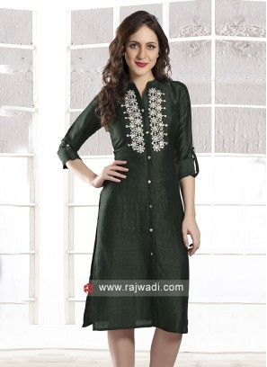 Designer Bottle Green Kurti