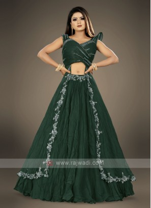 designer bottle green lehenga choli suit