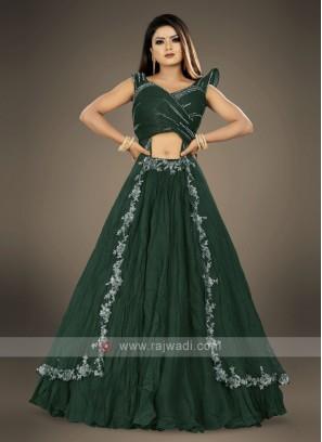 designer bottle green lehenga choli suit