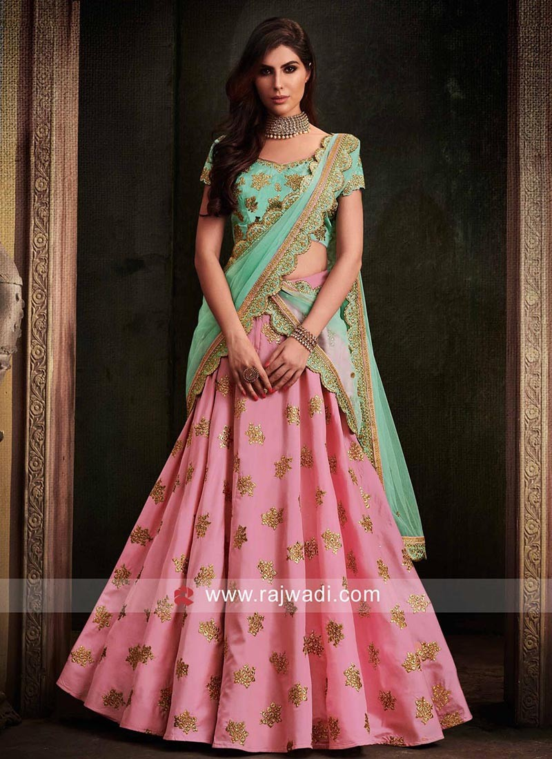 f77ce44f49 Designer Butter Silk Lehenga Set. Hover to zoom