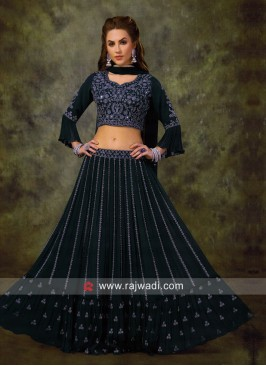 Designer Chiffon Choli Suit in Blue