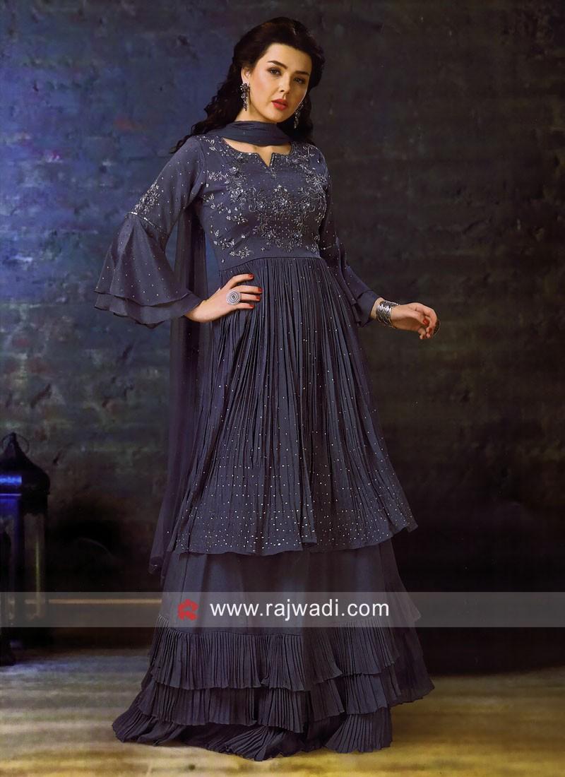 Designer Chiffon Choli Suit with Dupatta