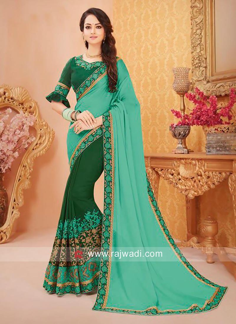 c277cc9cd9 Designer Chiffon Saree with Blouse. Hover to zoom