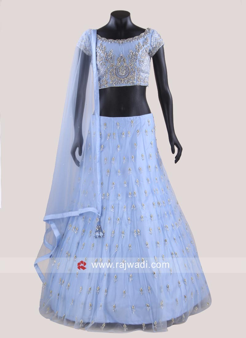 Designer Choli Suit in Light Sky Blue