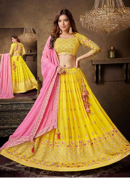 Designer Choli Suit In Yellow And Pink Color