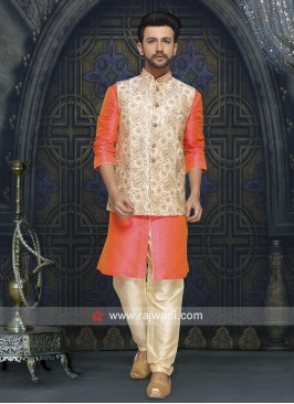 Orange and Cream Nehru Jacket