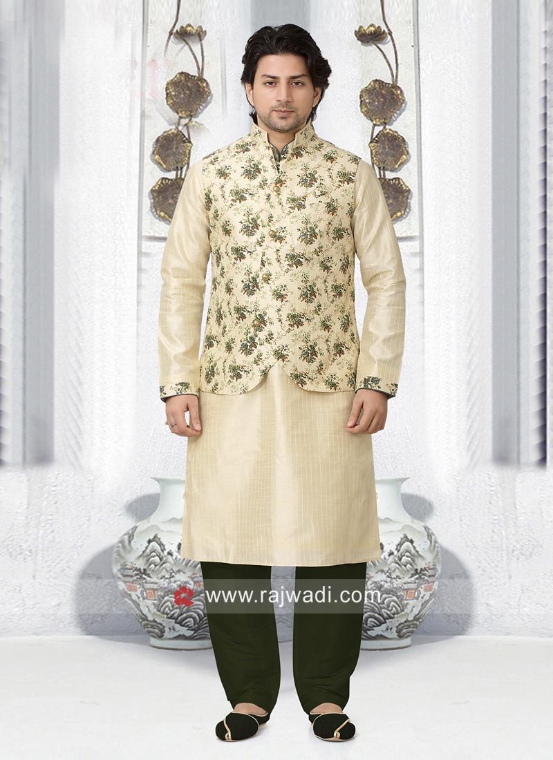Stylish Flower Print Koti With Kurta Pajama