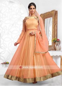 Designer Cold Shoulder Flared Anarkali Dress
