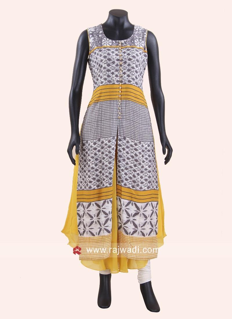 Designer Cotton Chiffon Long Kurti