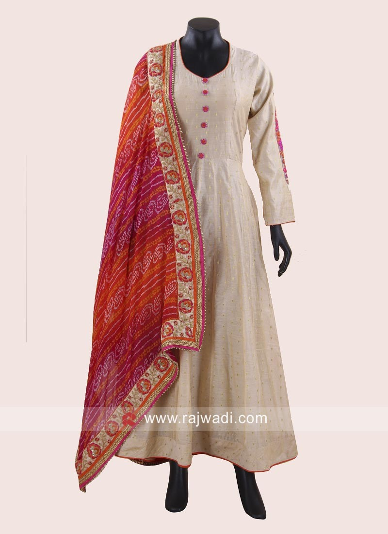 Designer Cotton Silk Anarkali Dress