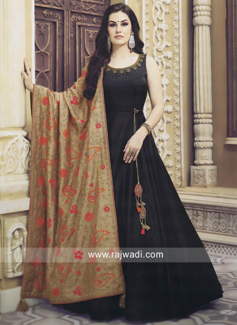 Designer Cotton Silk Anarkali in Black
