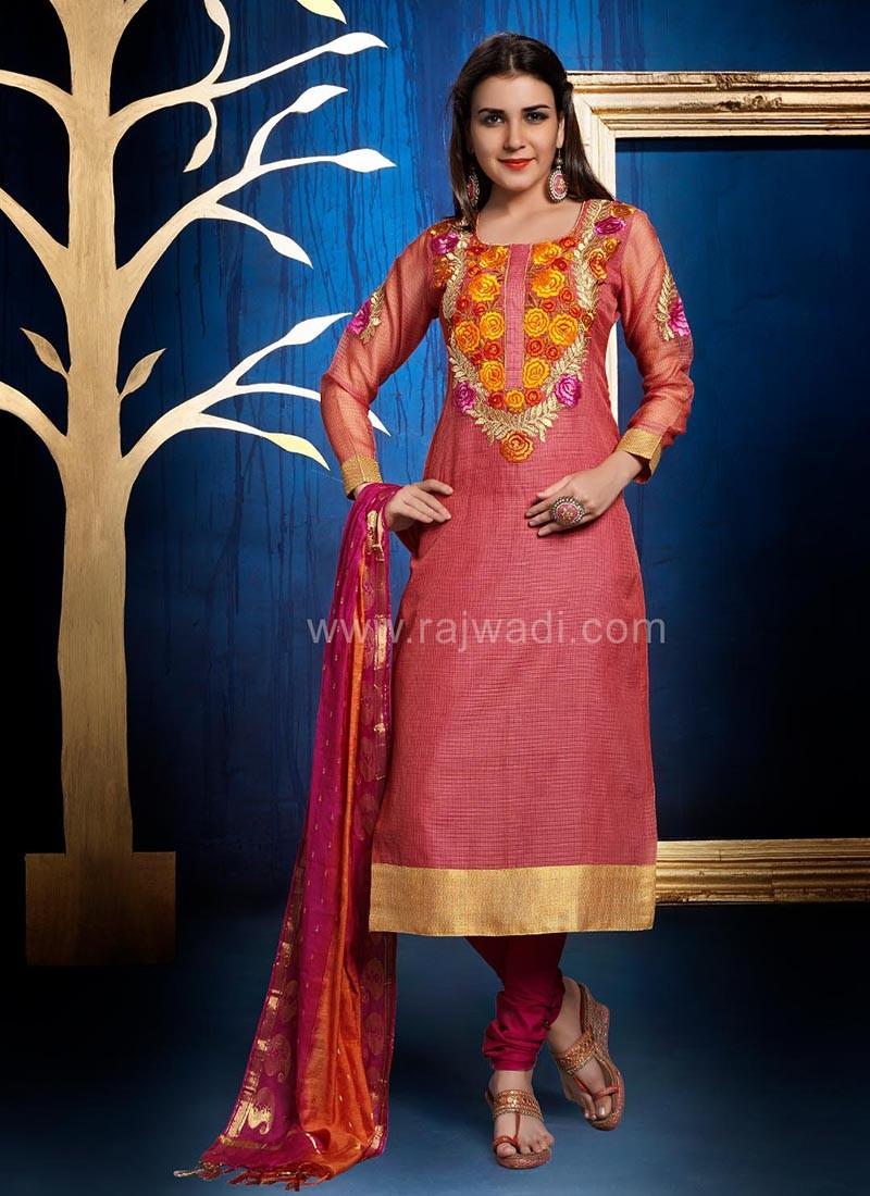 Designer Cotton Silk Churidar Suit with Dupatta
