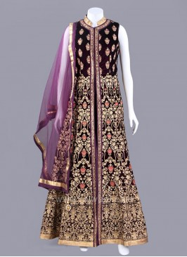Embroidered Dark Purple Slit Anarkali Suit