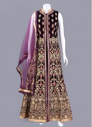Embroidered Dark Purple Slit Anarkali Suit
