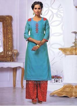 Designer Cotton Silk Palazzo Suit