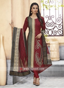 Designer Cotton Silk Party Wear Suit