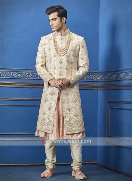 Designer cream and peach sherwani