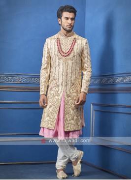 Designer cream and pink sherwani